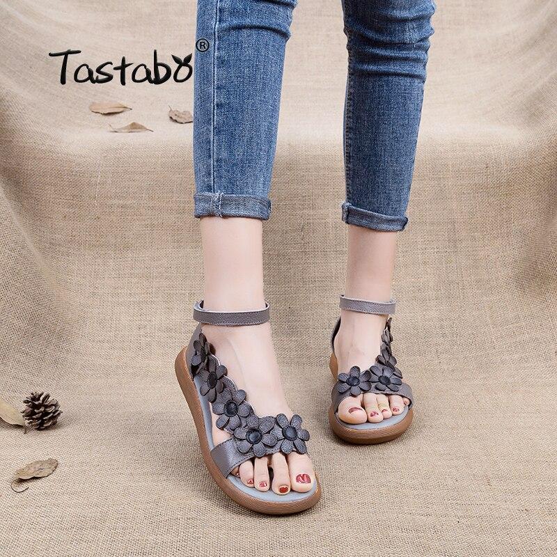 Tastabo Véritable Gladiateur En Cuir Sandales 2018 Mode Low Compensées Fleur D'été Chaussures Dames Plate-Forme Sandales Chaussures Femmes