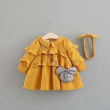 2018 Real Rushed Solid Cute Vestido Infantil Baby Girl Dress Girls Long Sleeve Dress Autumn 0-3 Years Child Ladies Ruffle Cake