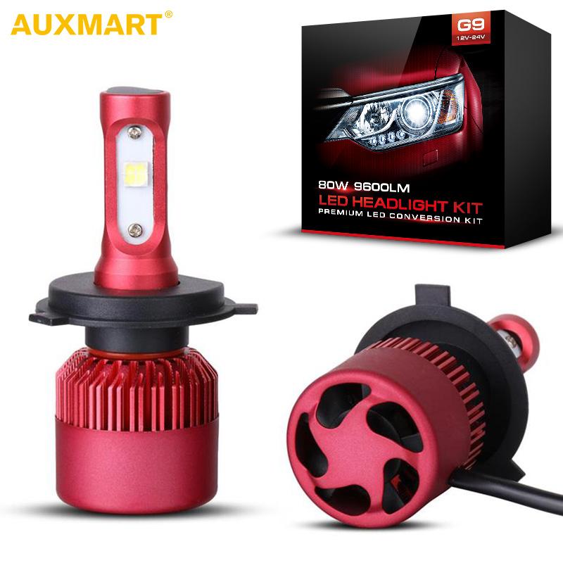 Prix pour Auxmart G9 H4 H13 Voiture LED Phare Ampoules SMD 80 W 9600lm 6500 K brouillard Lumière 12 v 24 v Plongé Haute Faisceau Phares DRL H7 H11 9005 9006