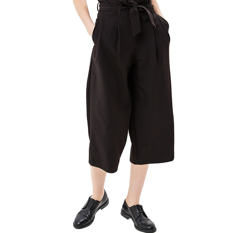 Pants & Capris MODIS M181W00773 women capri trousers for female TmallFS stylish high waisted black wide leg women s capri pants