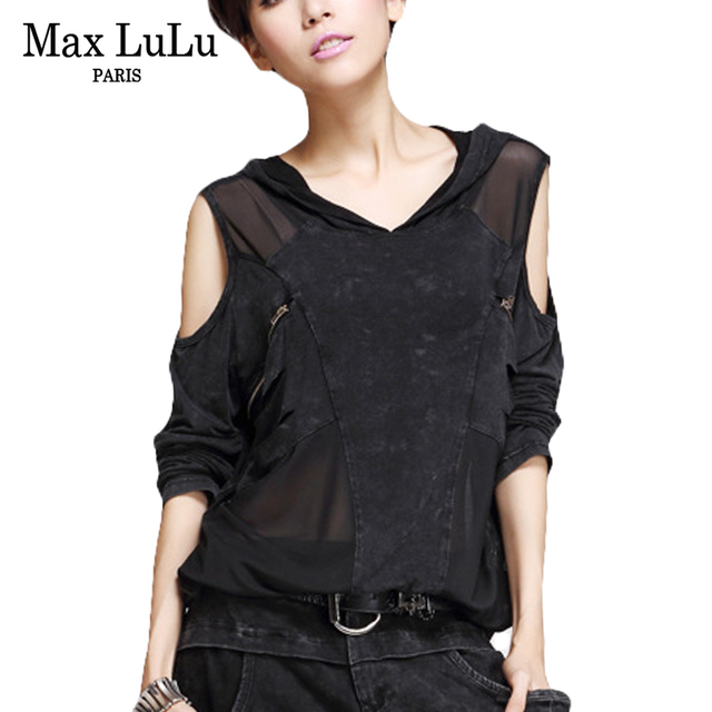 Max LuLu 2018 Luxury Korean Brand Girls Punk Crop Top Tee Womens V Neck T Shirts Hooded Harajuku Woman Sexy Lace Tshirt Camiseta