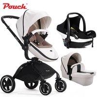 Модная Высококачественная детская коляска 3 в 1, с самостоятельной люминкой и портативное автомобильное сиденье, двунаправленное, сидение и