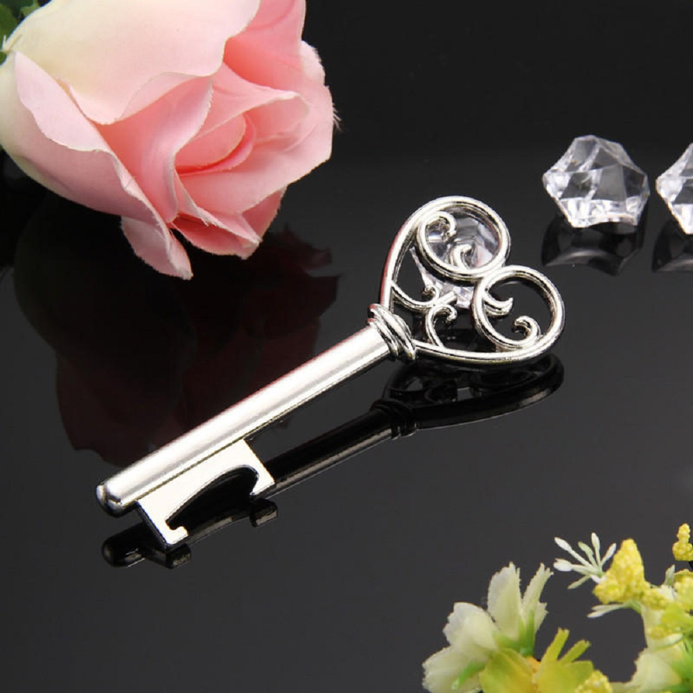 1Pcs Opener Key Personalized Creative Heart-shaped Lock Bottle Opener Keychain Wedding Party Gift Beer Silver Opener