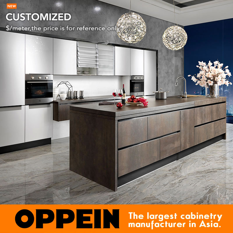 Guangzhou OPPEIN Wholesale White Lacquer Modular Kitchen Cabinet  Grilled Slab Kitchen Cabinet OP14-068