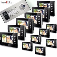 Smartyiba 6 a 12 unidades apartamento vídeo porteiro entrada da porta IR-CUT 1000tvl câmera campainha rfid cartão de acesso multi famílias