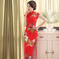 Hot Sale Red Chinese Style Formal Dress Silk Satin Long Qipao Vintage Sexy Flower Cheongsam Size S M L XL XXL