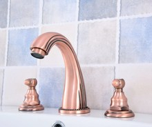 Basin Faucet 3 Hole Bathroom Sink Deck Mounted Cold Hot Antique Red Copper Mixer Tap zsf536