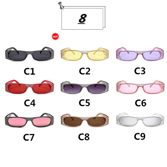 ZXWLYXGX Small square sunglasses women imitation diamond sung lasses Retro evening glasses cross fashion sunglasses UV400 4