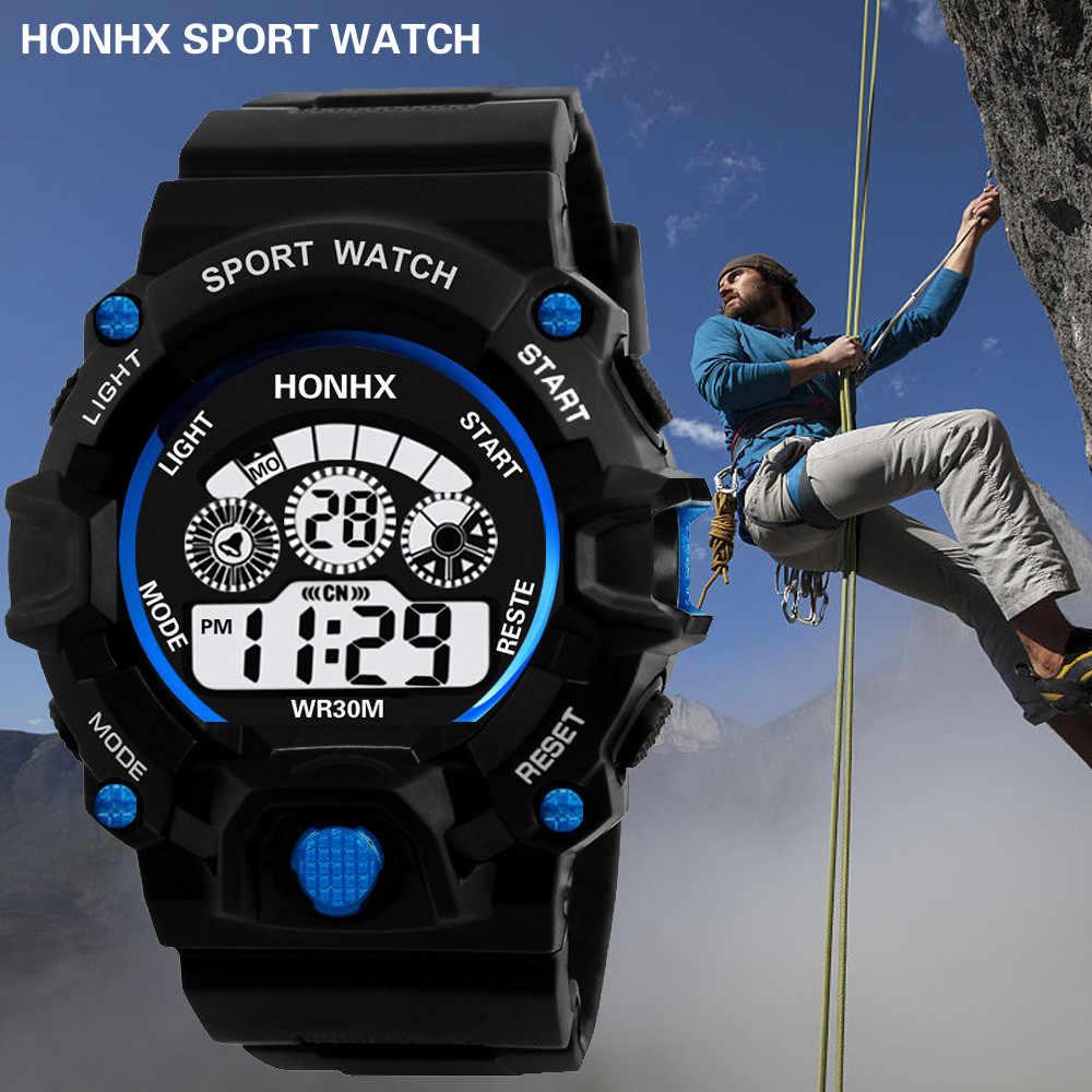 גברים ספורט שעונים אנלוגי דיגיטלי צבאי צבא ספורט LED עמיד למים שעון יד Masculino 2019 מותג חדש