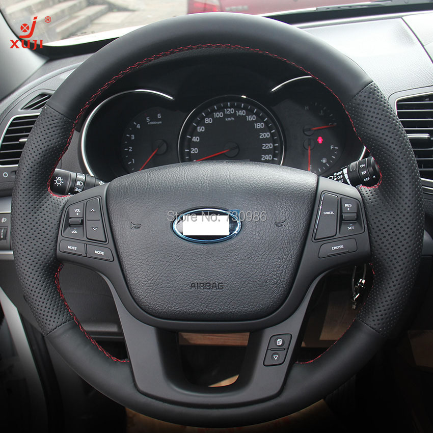 2014 Kia Cadenza Interior: XuJi Black Genuine Leather Suede Steering Wheel Cover For
