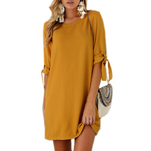 2017 Autumn Summer Dress For Women Roupa Tunic Work Dresses Tie Bow Pencil Casual Wear Clothes Office Ladies Vestidos WS1357Z