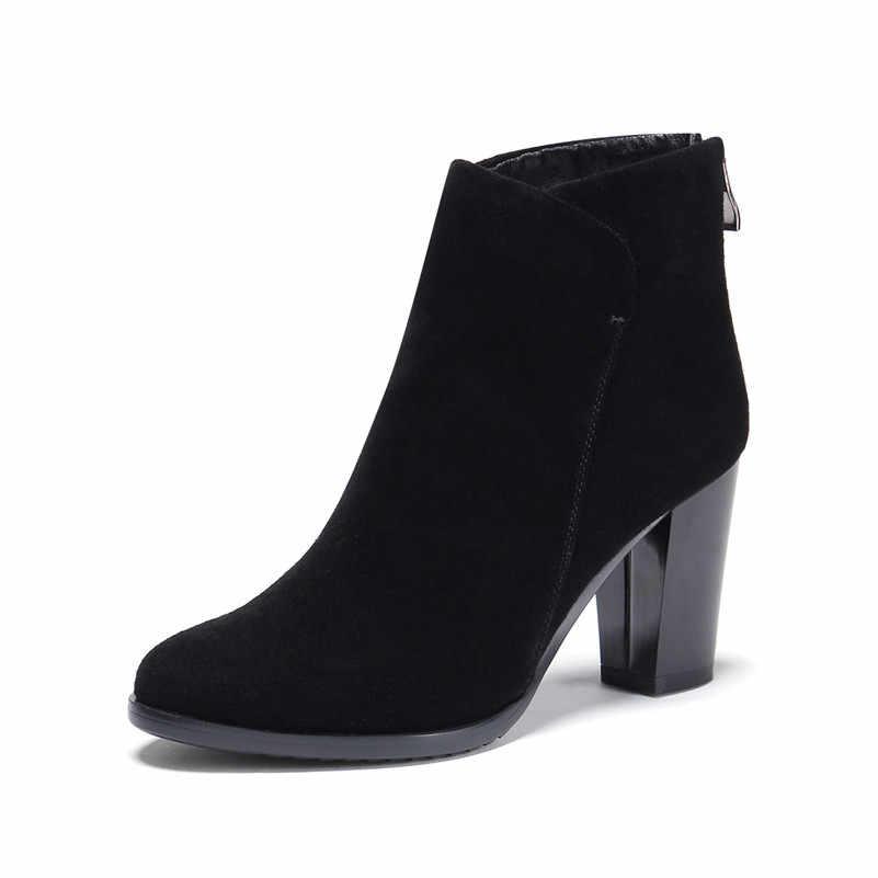 FEDONAS/Новые базовые женские ботинки из натуральной кожи, осенне-зимняя короткая женская обувь, женские офисные туфли-лодочки на платформе, женские ботильоны