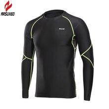 ARSUXEO – T-shirt à manches longues pour homme,tenue de sport en molleton thermique, pour la course, le football, le fitness,