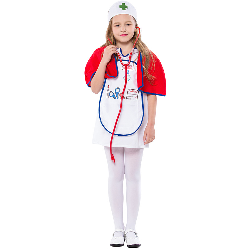 Umorden Childrens Day Carnival Party Halloween Red Cape Nurse Costumes Girl Kids Child Occupation Cosplay Costume Suit Dress