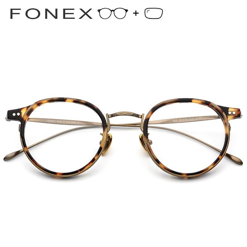 Männer Frauen Optische Myopie Acetat Rahmen Vintage Titan Runde Retro Brillen B 06qwfIc