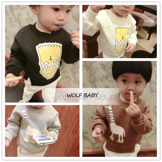 Varejo 0-3years clothing manga comprida camisola hoodies do revestimento do bebê crianças crianças meninas meninos de roupas infantis primavera outono inverno