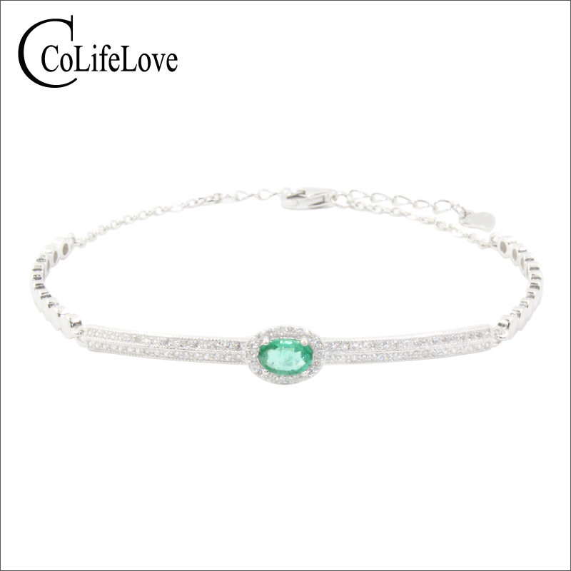 цена на Elegant emerald bracelet for wedding 4 mm * 6 mm natural SI grade emerald silver bracelet 925 silver emerald bracelet for party