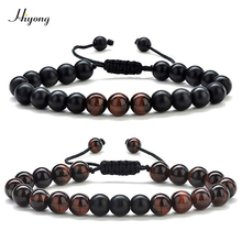 Natural Stone Bead Bracelet for Men Women 8mm Red Tiger Eye Beads Bracelet Black Matte Stone Healing Anxiety Bracelets Jewelry цены