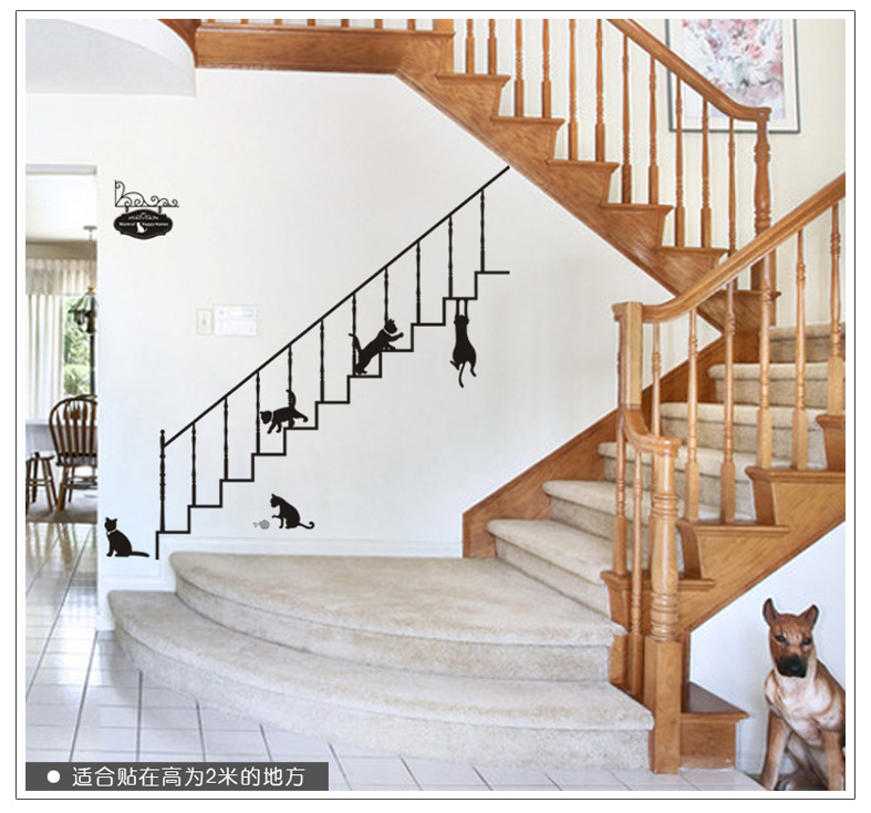 Black Stair Cats Vinilos Wall Stickers Decals Creative Design Animals Adhesive Wallpaper Mural Kids Women Home House Room Decor In From