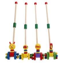 Crianças brinquedos de madeira bonito dos desenhos animados animais engraçado carro de madeira brinquedos crianças bebê quebra cabeça carrinho de carrinho brinquedos de madeira empurrando brinquedo cor aleatória