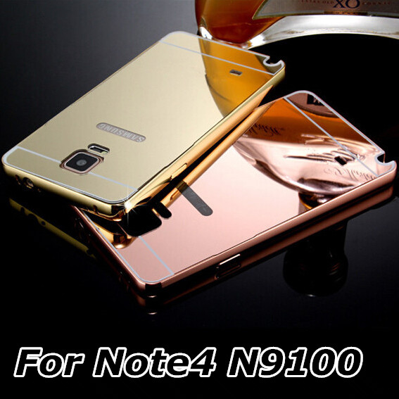 wholesale dealer 178b2 46b7c US $4.99 |Note4 for Samsung Galaxy Note 4 Case Metal Bumper Cases Golden  Plating Aluminum Frame + Mirror Acrylic Back Cover black SM N9100-in Phone  ...