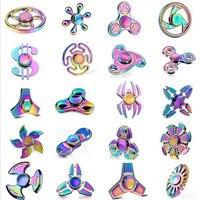 2017 Fidget Spinner Hand Spinner Rainbow Brass Tri Spinner Fidget Toy EDC Focus Finger Tip Gyro