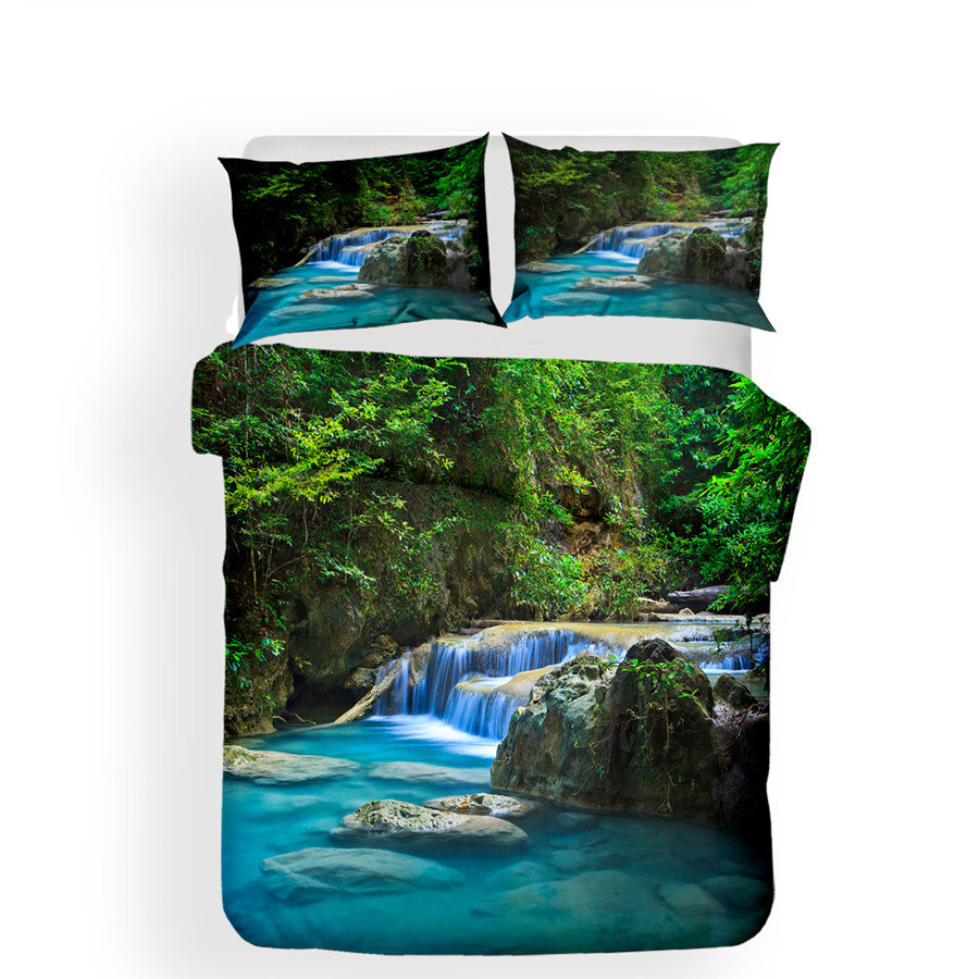 Image 2 - Bedding Set 3D Printed Duvet Cover Bed Set Forest waterfall Home Textiles for Adults Bedclothes with Pillowcase #SL02-in Bedding Sets from Home & Garden