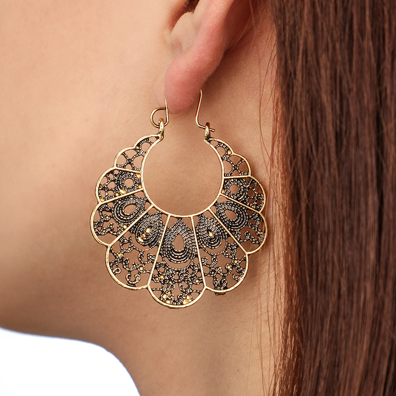 Tocona Bohemia Vintage Big Flower Hollow Peacock Gold Silver Color Dangle Drop Earrings Bridal Party Wedding Jewelry 2714