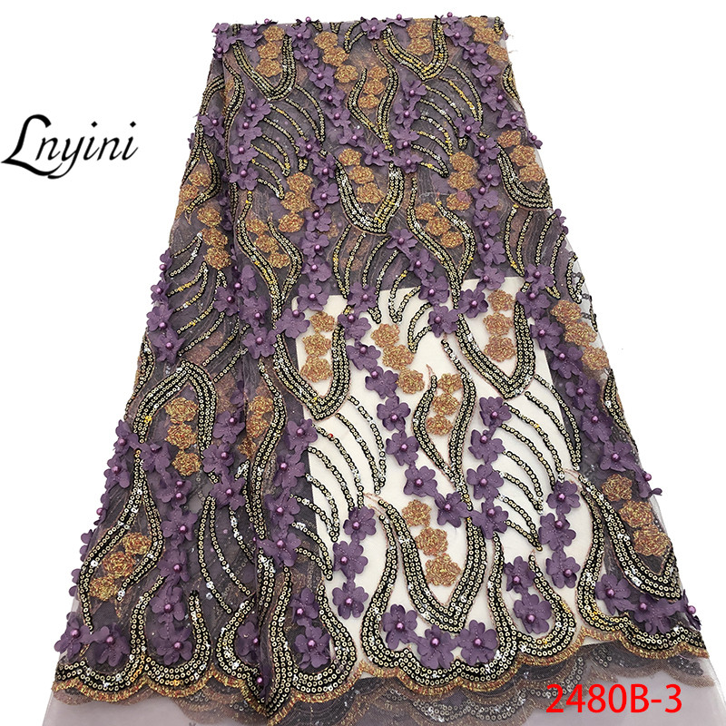 Wholesale African Lace Fabric 2019 High Quality African French Tulle Lace Fabric 3D Flowers Lace Nigerian Lace Fabrics L2480B 1-in Lace from Home & Garden    1