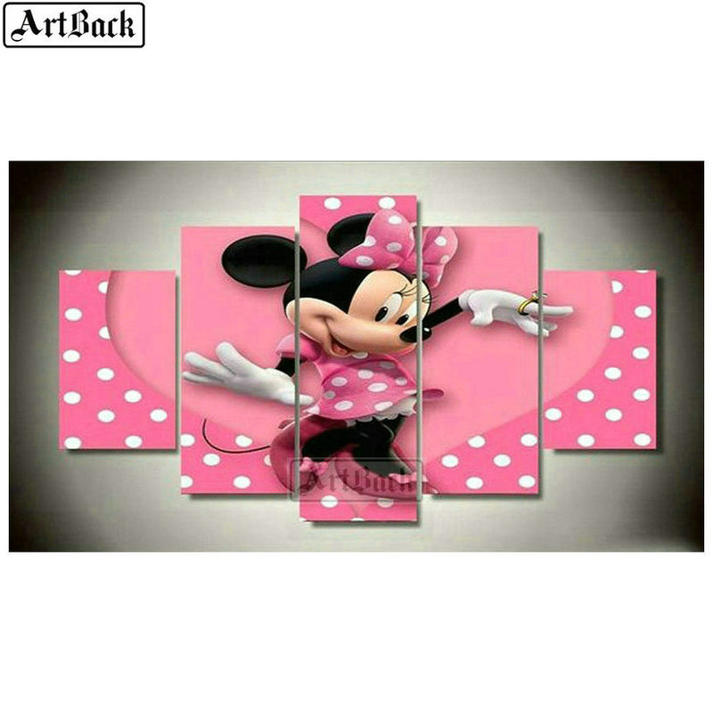 Diamond Painting Mickey Mouse Full Square Diamond Mosaic Cartoon Minnie Sticker Diamond Embroidery Disney Kids Gift Decoration
