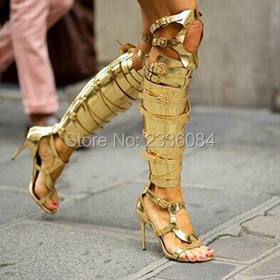 Sapato Feminino Metallic Gladiator Riemchensandalen Silber