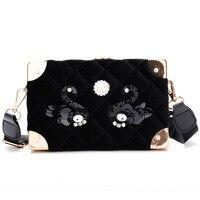 women new female striped small velvet bag Shoulder Bag satchel crossbody bags vintage box swan pattern girls