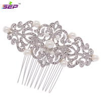 2014 New Clear Rhinestone Flower Hair Comb With Imitation Pearl Women Party Wedding Bridal 1456R Free