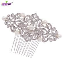 Rhinestone Crystals Jewelry Hairpins Bridal Wedding Hair Accessories Flower Imitation Pearls Hair Combs 1456r