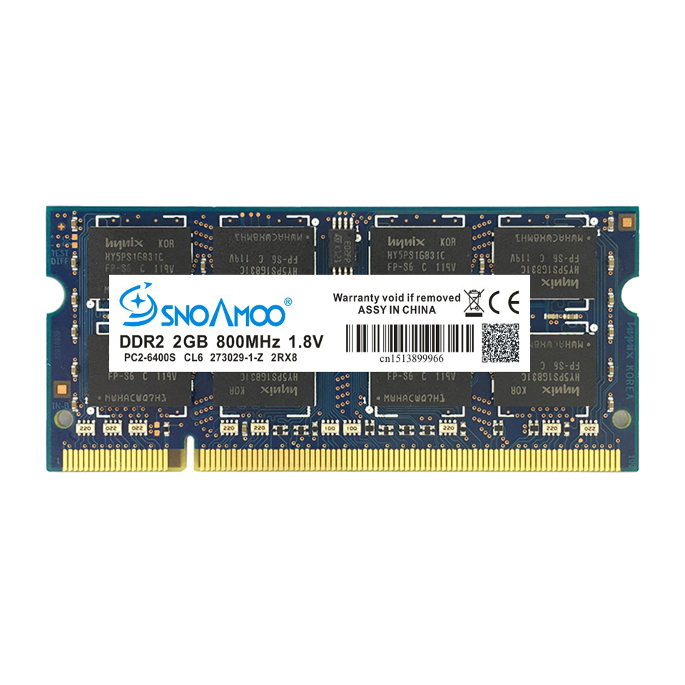 SNOAMOO Laptop RAMs DDR2 2GB 667MHz PC2-5300S 800MHz PC2-6400S 200Pin CL5 CL6 1.8V 2Rx8 SO-DIMM Computer Memory Warranty 2