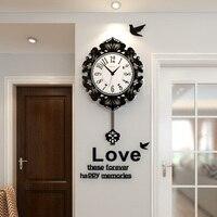MEISD Flower Swingable Vintage Antique Style Large Wall Clock Modern Design Silent Hanging Clocks Wall Sticker Free Shipping
