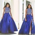 Lindo Frisado Vestidos de Noite Vestidos Para Festa Vestidos de Noite Elegante Robe De Soirée 2 Peças Longo Vestido de Noite Azul Royal