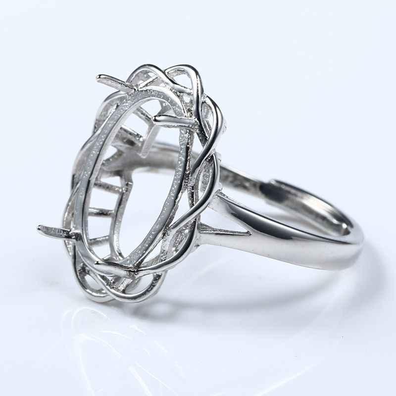 925 Sterling Silver Mulher Anel Semi Mount Anel de Noivado Casamento 10x15mm Fine Jewelry Configuração Oval Cabochon