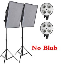 Professional 50*70CM Photography Photo Studio Softbox 4 Socket Lamp Led Lighting Kit 2M Light Stand Light Box Equipment Diffuser 50 70cm continuous lighting softbox 4 lamp holder cross bar double pulley horizontal arm photography kit 45w 5500k bulbs 4pcs