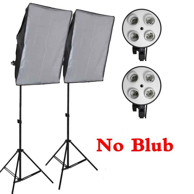 Professional 50*70CM Photography Photo Studio Softbox 4 Socket Lamp Led Lighting Kit 2M Light Stand Light Box Equipment Diffuser