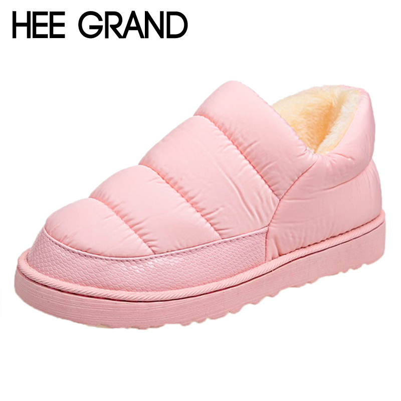 HEE GRAND WaterProof Snow Boots Creepers Platform Casual Shoes Woman Winter Warm Fur inside Women Ankle Boots Size 35-40 XWM264 hee grand inner increased winter ankle boots warm fringe fashion platform women snow boots shoes woman creepers 3 colors xwx6180