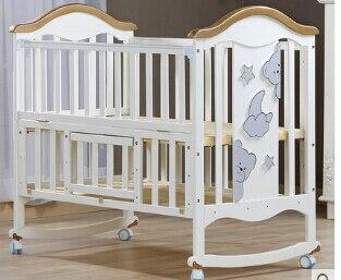 Berceau berceau bois type Europe multifonctionnel blanc lit bébé. Lits bébé avec moustiquaires
