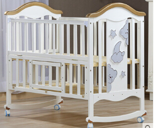 Cradle crib wood Europe type multifunctional white baby bed. Baby beds with mosquito nets luxury pine solid wood logs baby crib adjustable 3 in 1 stitching multifunctional storage cradle baby bed with guardrail for kid