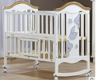 Europa tipo de berço de madeira berço multifuncional cama de bebê branco. bebê camas com mosquiteiros