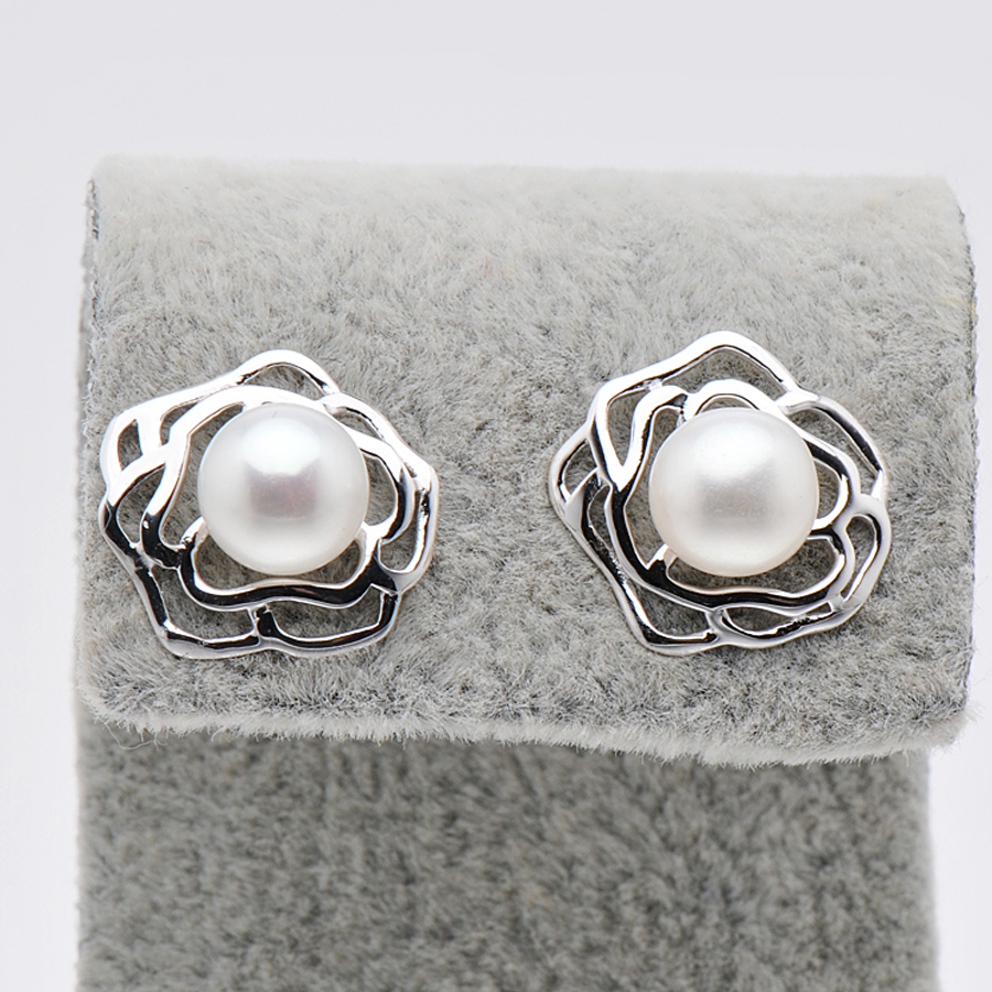Aliexpress Feige 7 8mm Bread Shaped White Freshwater Cultured Pearls 925 Sterling Silver Stud Earrings For Women S Brincos Fine Jewelry From