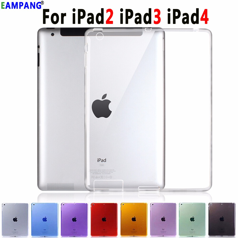 High Quality Silicon Slim Crystal Clear Cover Coque Capa Funda Can See Logo Soft TPU Case Cover for Apple iPad 2 3 4 9.7 image