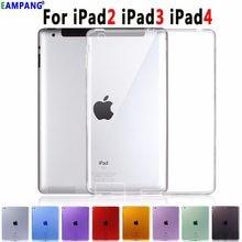 Silicone de alta qualidade fino cristal claro capa coque capa funda pode ver logotipo macio tpu caso capa para apple ipad 2 3 4 9.7