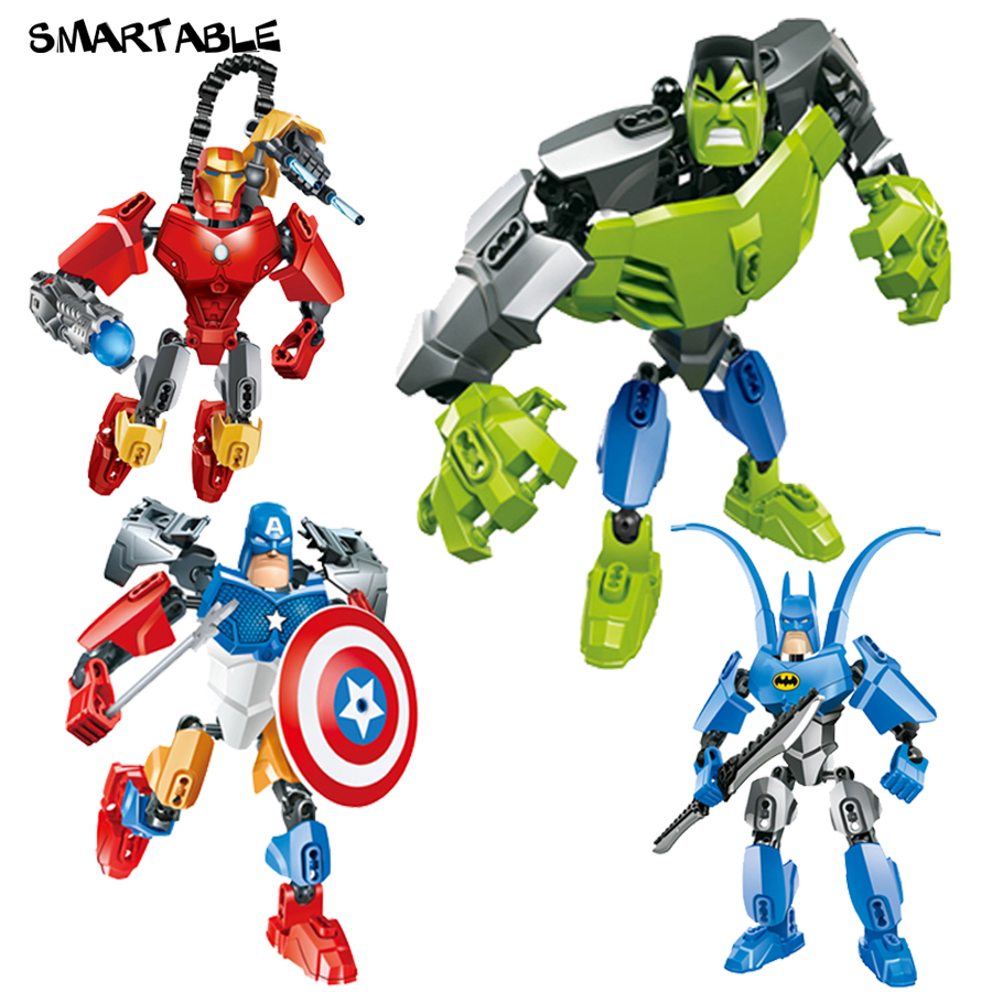 Smartable Avengers 4 pcs/set Iron Man Captain America Hulk Batman figures 505 Building Block toys Compatible Legoing Batman uncanny avengers volume 4
