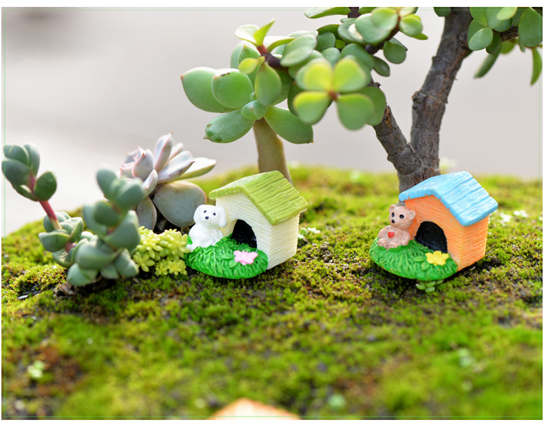 1pcs Animal Dog Cat Rabbit House Diy Resin Fairy Garden Craft Decoration Miniature Micro Gnome Terrarium Figurines & Miniatures