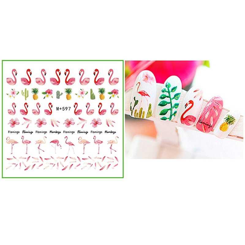 Mtssii 1PC 18 Designs 3D Water Decals Slider Summer Beach Fruit Flamingo  Parrot Watermark Nail Sticker Decoration Wraps Manicure